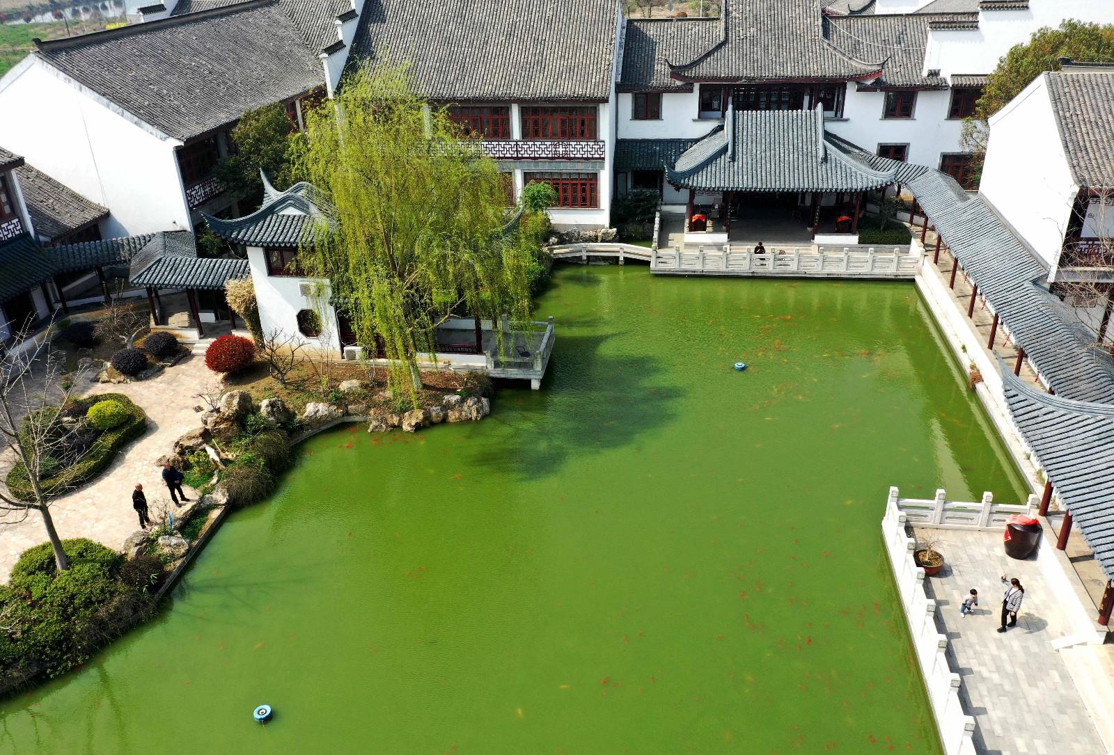 3月14日,游客在全椒县武岗镇荒草圩农耕文化园游玩。